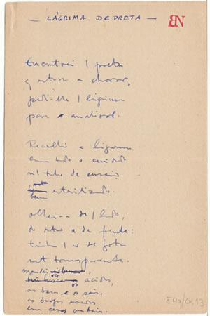 Manuscrito lágrima de preta